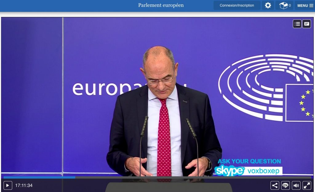 Simultaneous interpreting from French into English at a European Parliament press briefing on the plenary session 7th July 2020